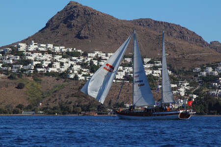 Bodrum, Turkey, 27 October 2018: Bodrum Sailing Cup, Gulet Wooden Sailboats and sailing yachts racing. Foto de archivo - 160787477