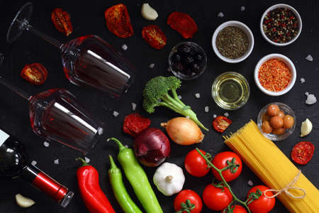 Flat lay with fresh organic products. Traditional ingredients of italian cuisine