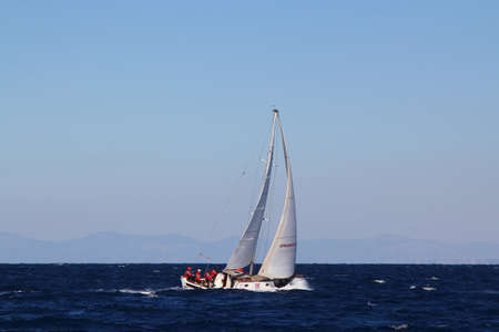 Bodrum, Turkey, 26 October 2018: Bodrum Sailing Cup, Gulet Wooden Sailboats and sailing yachts racing.