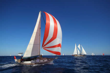 Bodrum, Turkey, 26 October 2018: Bodrum Sailing Cup, Gulet Wooden Sailboats and sailing yachts racing. Foto de archivo - 161124791