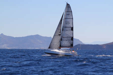 Bodrum, Turkey, 26 October 2018: Bodrum Sailing Cup, Gulet Wooden Sailboats and sailing yachts racing. Foto de archivo - 161124792