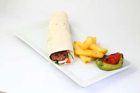 Turkish Shawarma durum Traditional sish kebab wrap and kofte meatball