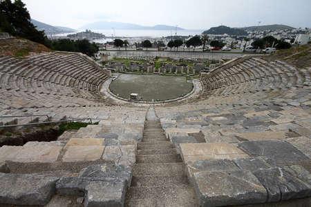 Bodrum, Turkey. 02 March 2016: Ruins of Bodrum Antique Theater Halikarnassos ancient city in Turkey.