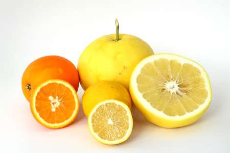 Image of orange, grapefruit and lemon on white background
