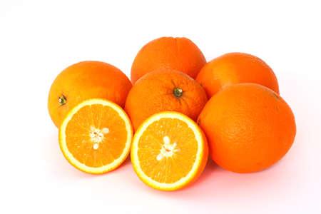 Fresh juicy oranges isolated on white background,