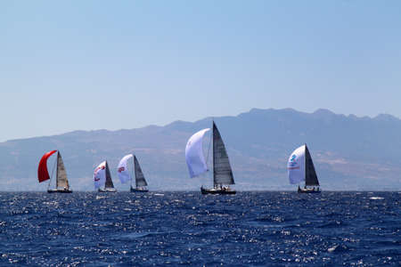 Bodrum, Turkey. 19 August 2016: The sailing races have been performed by the organization of Turkey Sailling Federation in Bodrum for the memory of Mustafa Koc. Editorial