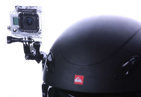 mounted: Gopro set mounted on snowboarding helmet