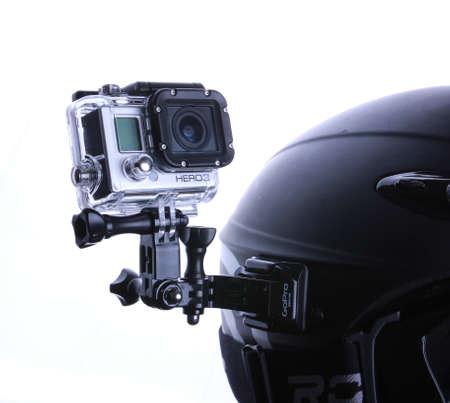 Gopro set mounted on snowboarding helmet