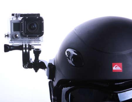 mounted: Gopro set gemonteerd op snowboarden helm