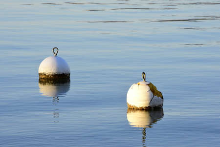 two white buoys floating on a blue lake