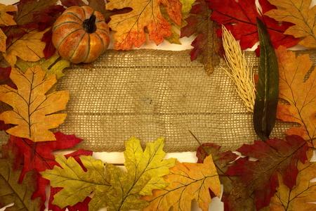 autumn, fall, background, leaves, burlap strip and pumpkin