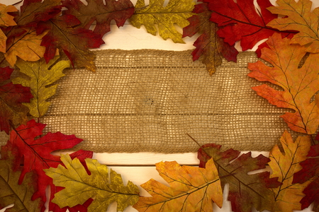 autumn, fall, background, burlap strip with leaves as border