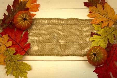 fall, autumn, background, leaves, pumpkins, burlap, on pine