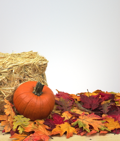 pumpkin and fall leaves against a bale of hay, decorative Imagens