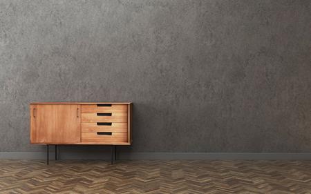 Dunkler Raum mit Schrank. Vintage Innenarchitektur. -3D-Rendering Standard-Bild