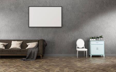 Entspannen Sie den Raum mit Hintergrund. Betonwand und Holzboden im Wohnzimmer. -3D-Rendering Standard-Bild