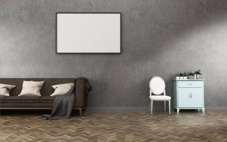 Relaks przestrzeni z background.concrete ściany i podłogi z drewna w salonie. -3d renderowania Zdjęcie Seryjne