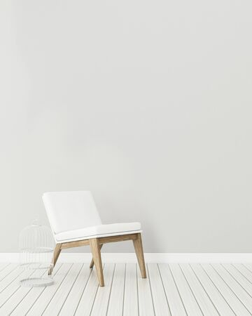 Common space in house.empty room with chair . modern interior design. -3d rendering