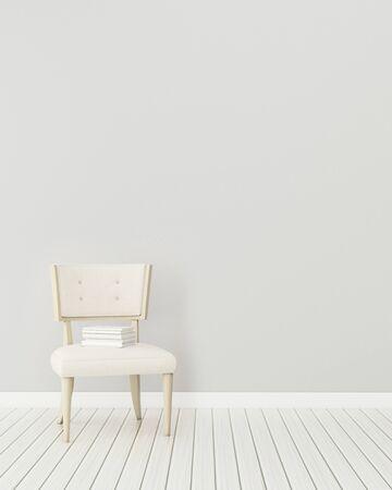 Komfortowa przestrzeń w domu. Biały pokój z fotelem. nowoczesny wystrój wnętrz. -3d renderowania
