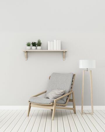 Modernes Interieur des Wohnzimmers mit Stuhl und Lampe. -3D-Rendering
