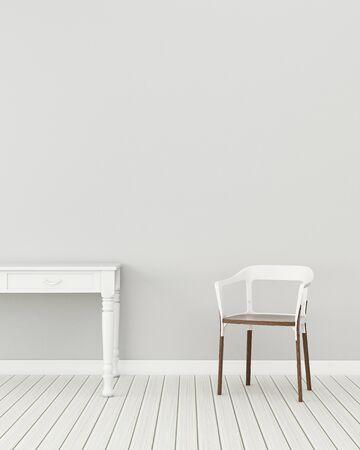 Modernes Interieur des Wohnzimmers mit Stuhl und Tisch. Komfort im Haus. -3D-Rendering