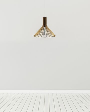 Empty room with classic lamp. Common space in home.   3d rendering