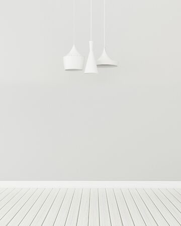 Empty room with three modern lamp. Comfort space in living room.  3d rendering