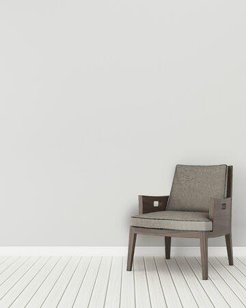 Komfortraum im Haus. Leerer Raum mit Holzstuhl. modernes Innendesign. 3D-Rendering