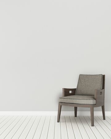 Spazio comfort in casa.stanza vuota con sedia in legno. design d'interni moderno. rendering 3d