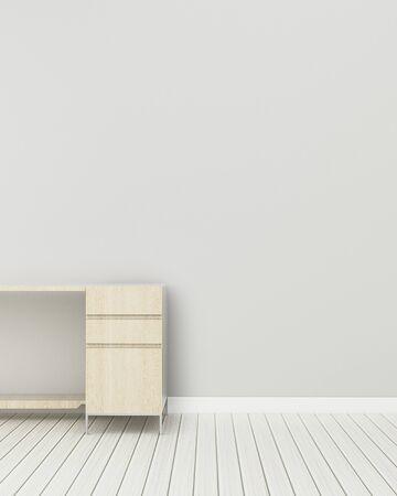 Living comedor con mesa de madera. Espacio de trabajo en departamento. Representación 3d