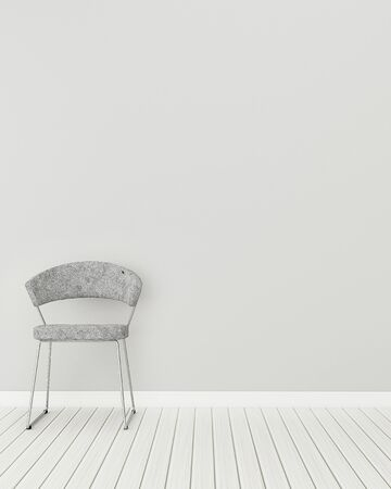 Empty space in house. White room with chair. modern interior design. 3d rendering