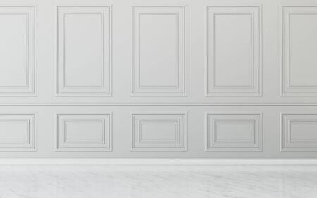 Espacio común en casa habitación vacía. diseño interior clásico. -Representación 3d Foto de archivo