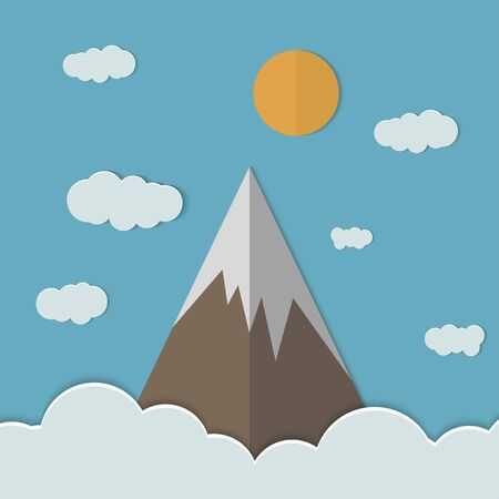 Mountains and clouds and there are paper planes.Illustration of Mountain.Summer mountain landscape.  Vector illustration