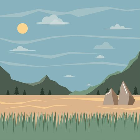 wild grass.Horizontal illustration coniferous forest with mountains. Vector illustration