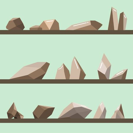 Set of stones.Stones rocks in modern style.brown mountains and cliffs vector.  Vector illustration Ilustração