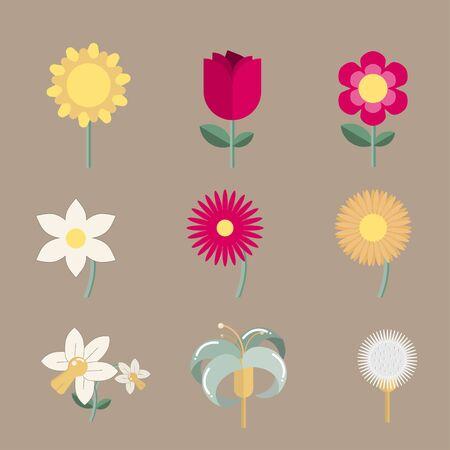 Summer Flowers summer Set.Set of Flowers vector.  Vector illustration