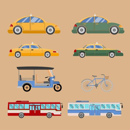 Vector set of various city urban traffic. car, taxi, delivery car, red bus.  Vector illustration Ilustração