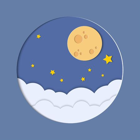 Full moon at night sky with clouds and stars for background. Vector illustration