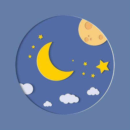 Half moon, clouds and stars in the night as paper art and craft style concept.  Vector illustration Illustration