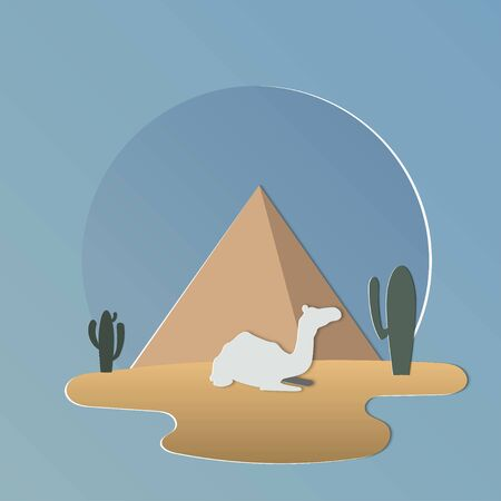 pyramids and oasis in Arabian desert with camels.Camel caravan.Vector illustration  イラスト・ベクター素材