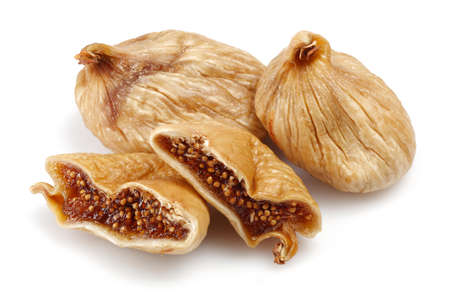 Dried figs isolated on white background.