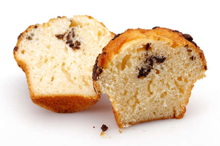 Chocolate chip muffin on isolated white background