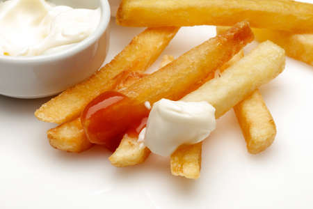 French fries with ketchup and mayonnaise Reklamní fotografie
