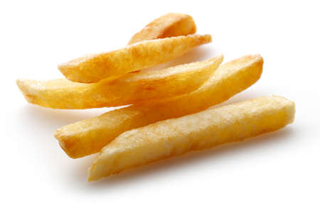 A pile of appetizing french fries on a white background.