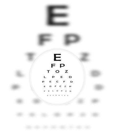 clearly: Corrective Contact Lense Focuses Eye Chart Letters Clearly.  The Eye Chart is shown blurred in the background. Stock Photo