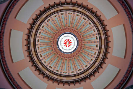 skylight: The Ohio Statehouse Rotunda Dome with skylight.  The dome spans 120 feet from the floor to the skylight and is filled with 28 different colors.