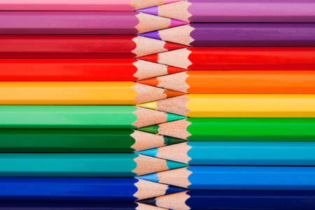 Colored pencils in zigzag position