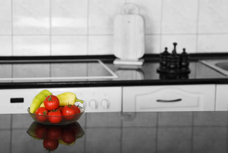 kitchen detail: Kitchen detail with vegetables (selective colored)