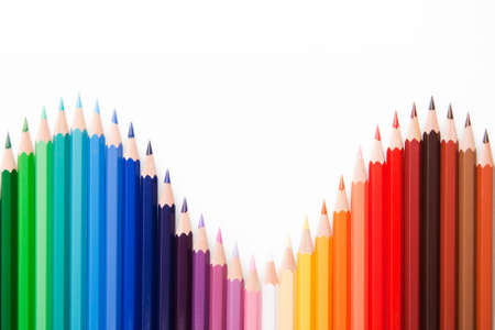 Colored pencils in wave position