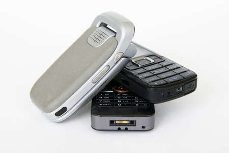 Three mobile phones with white background